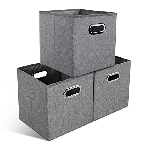 YOOFAN Boîtes de Rangement pour Cubes - Bacs de Rangement en Tissu avec poignées en métal pour étagères de Placard Organisateur de Cubes, Gris, 28x28x28cm, Lot de 3