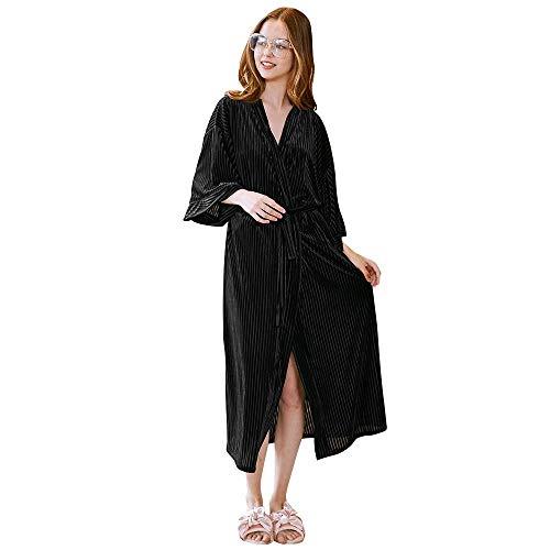 Crystallly Dames Badjas Lange Dressing Jurk V Nek Sauna Jas Pajama Eenvoudige Stijl Lange Mouw Warm Dikke Pajama Thuis Reizen Mode Comfortabele pyjama