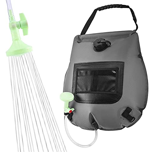 Vigcebit1 Bolsa de ducha para camping, bolsa de ducha solar de 20 L, con manguera extraíble y cabezal de ducha con encendido y apagado, para nadar en la playa, viajes, al aire libre