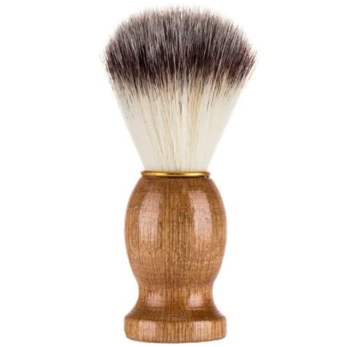 Ncheli Barba con Pennello, Pennello da Barba Pennello barba manico in legno La scelta migliore per una rasatura umida con rasoio per uomo Barbiere Parrucchiere/Salone
