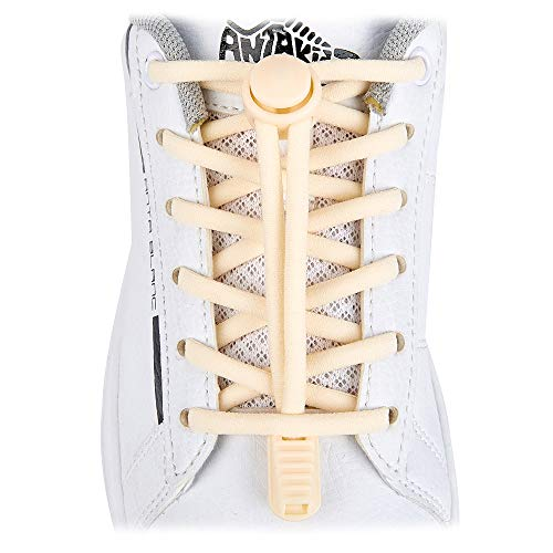 ZHENTOR Elastic Shoe Laces - Quick to Install No Tie Shoelaces for Kids and Adults(2 Pairs). (off white)