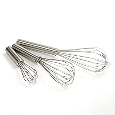 Norpro Balloon Wire Whisk Set of 3 Stainless Steel Stir/Mix/Beat 6  /8 / 10