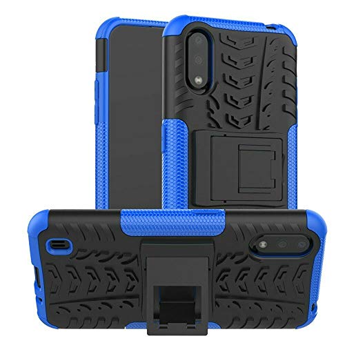 Prime Retail Shockproof Hybrid Kickstand Back Case Defender Cover for Samsung Galaxy M01 - Blue