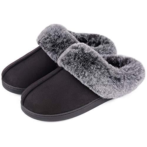 VeraCosy Damen Winter Hausshuhe Micro Suede Memory Foam Pantoffeln mit warme und Bequeme Kunstpelzkragen, Dunkelschwarz, 42/43 EU