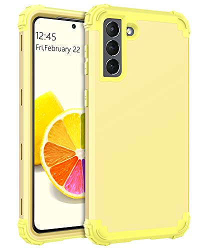 BENTOBEN Case Compatible with Samsung Galaxy S21, 3 in 1 Heavy Duty Hybrid Hard PC Soft Silicone Bumper Shockproof Anti Slip Protective Case for Samsung Galaxy S21 5G 6.2' (2021 Release), Yellow Lemon