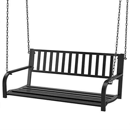 Yaheetech Porch Swing Hanging Bench, Patio Furniture Metal Swing Chair for Garden, Yard, Deck, Backyard, Outdoor - Black