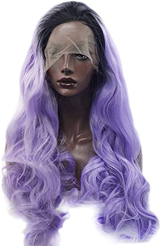 UZZHANG Purpurredes langes lockiges Haar des Farbverlaufs  Spitzefrontsynthetische Perücken für Frauen Cosplay (color   Purple)