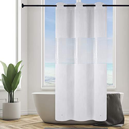 Furlinic Duschvorhang Überlänge PEVA Badvorhang mit 3D Fenster Anti-schimmel für Kleine Badewanne Dusche Schmaler Vorhang Wasserdicht Waschbar mit Magnet Weiß 120x210cm mit Groß Ösen.
