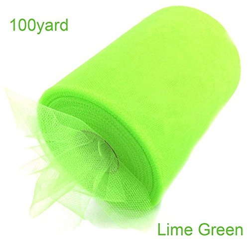 100 Yard Tulle Roll Fabric Spool Tutu Skirt Fabric Wedding Party Gift Bow Tulle for Decoration and Tutu Dresses (Lime Green)