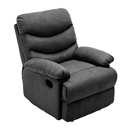 HEYNEMO Fabric Recliner Chair for Living Room, Recliner Chair Recliner Sofa for Living Room Bedroom Office, Modern Recliner Chair, Manual Adjustable High Back Comfortable Single Recliner Chair Black