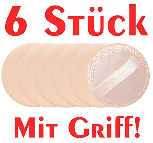 6x Puderquaste mit Griff 60mm • Satin-Rückseite • Schminkschwamm • Für Make-Up, Kosmetik,...