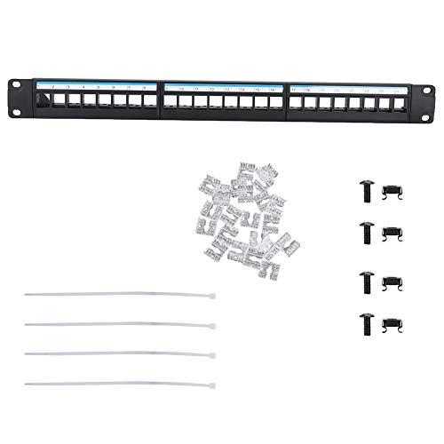 19-inch datapatch-paneel met 24 aansluitingen Monteerbaar datapatch-paneel CAT6-netwerkkabelhouder eenvoudig te gebruiken (geen modules inbegrepen)