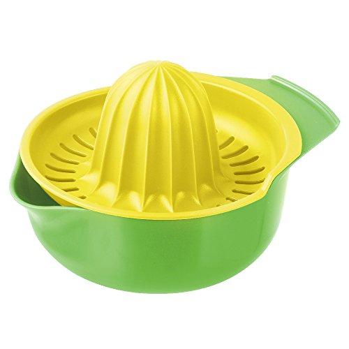 Fackelmann Zitronenpresse mit Auffangbehälter, frisch gepresster Saft ohne Kerne, Küchenhelfer zum Pressen von Limetten (Farbe: Gelb, Weiß, Gelb/Grün - nicht frei wählbar), Menge: 1 Stück