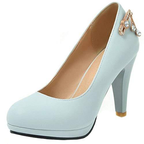 RAZAMAZA Mujer Moda Tacón Alto Bombas Zapatos Bajo Alto Oficina Zapatos Fiesta Zapatos Tacón Blue Talla 40 Asian