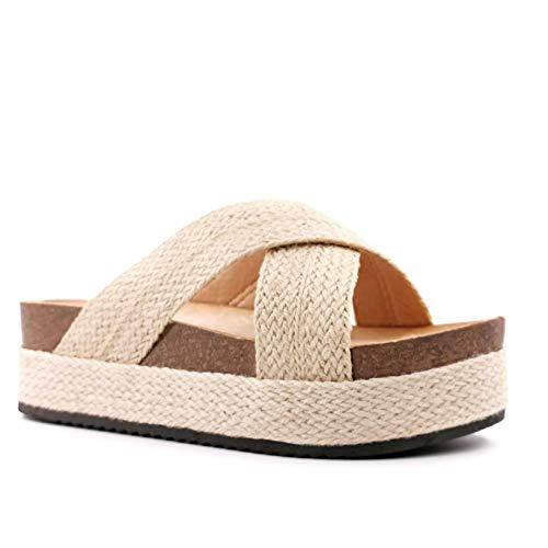 Angkorly - Damen Schuhe Schuh-Mule Espadrille - Strand - große Plateauschuhe - Böhmen - mit Stroh - gekreuzte Riemen - Geflochten Keilabsatz high Heel 5.5 cm - Beige 3 FB-170 T 38