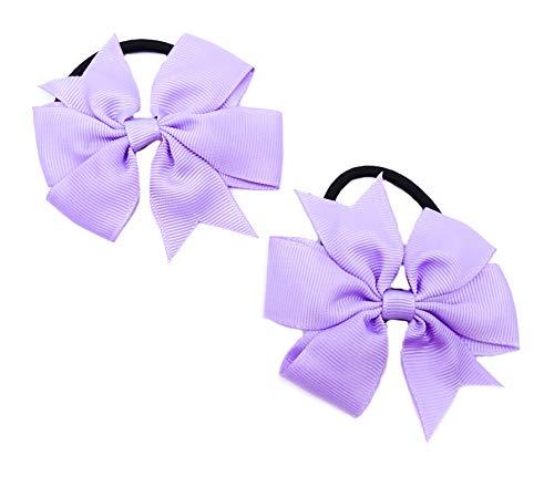 onweerstaanbaar1 Pretty Handgemaakte Dubbele Boog Stretchy Elastische Haar Tie Haarband In Lila