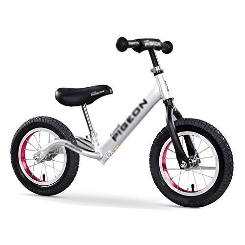 Bicicleta sin pedales YXX Bicicleta de la Bici de la balanza de los niños con Las Ruedas de 14 Pulgadas, el Manillar y el Asiento Ajustables, Marco de la aleación de Aluminio (Color : La Plata)