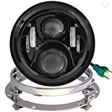 Eagle Lights 7 Inch Round Generation 2 Black LED Headlight for Harley Davidson with Adapter Ring