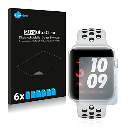 savvies Protector Pantalla Compatible con Apple Watch Nike Plus Series 3 (38 mm) (6 Unidades) Pelicula Ultra Transparente