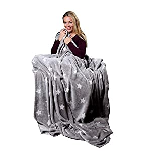 Pink Papaya Manta Polar Supersuave y Acogedora– Mantas para Sofá con Diseño de Estrellas - Tamaño 150 x 200 cm