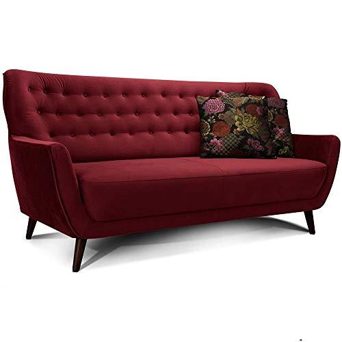 CAVADORE 3-Sitzer-Sofa Abby / Retro-Couch im Samt-Look mit Knopfheftung / 183 x 89 x 88 / Samtoptik, rot