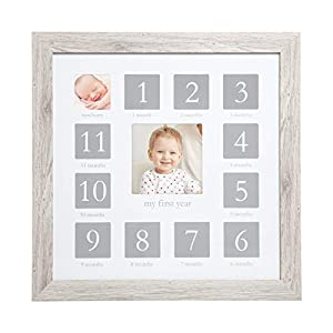 Kate & Milo Baby's First Year Picture Frame, Woodland Nursery, Rustic