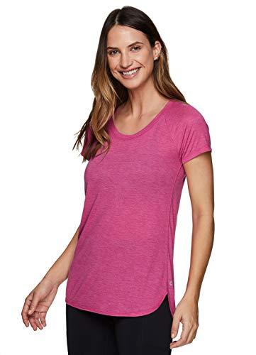 RBX Active Women's Fashion Short Sleeve Longer Length Scoop Neck Workout Yoga Raglan T-Shirt Hi/Low Dark Pink M