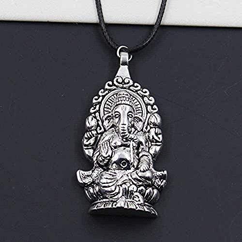 huangxuanchen co.,ltd Collar Duradero de imitación de Cuero Negro Buda Elefante Colgante de Cuerda Gargantilla DIY Collar Retro Boho Plata tibetana
