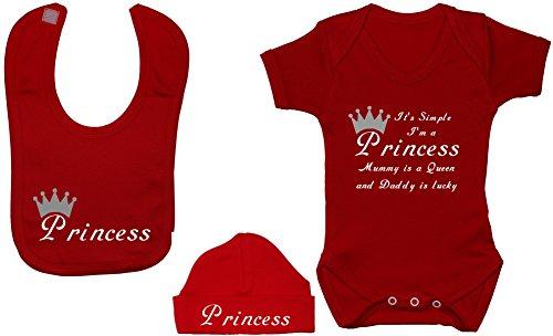 C'est simple Je suis une princesse momie est une Reine et Daddy est Lucky Body bébé/T-shirt Grenouillère/avec Princesse Bavoir et chapeau/capuchon Ensemble de 0 à 12 mois