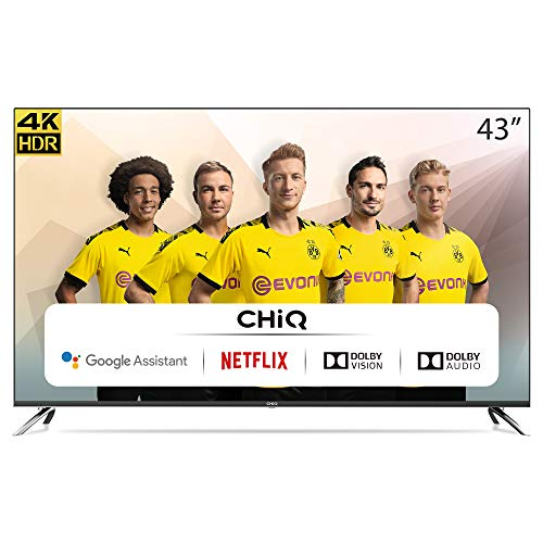 CHiQ 43 Pouces,Android 9.0,Smart TV, U43H7A, UHD, 4K, WiFi, Bluetooth, Google Play Store, Google Assistant, Chromecast bulit-in, Netflix, Video, Youtube
