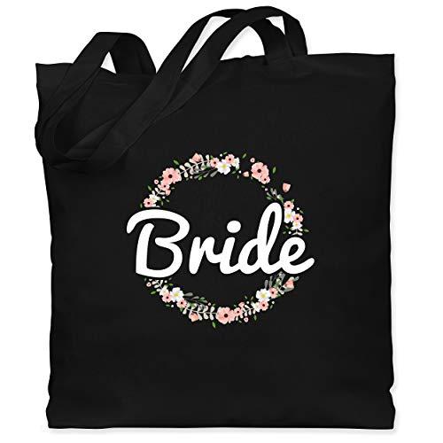 Shirtracer JGA Junggesellenabschied Frauen - Bride Blumenkranz - Unisize - Schwarz - jutebeutel bride - WM101 - Stoffbeutel aus Baumwolle Jutebeutel lange Henkel