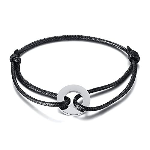 Brazalete De Tobillo Circle Cuerda Anklet Para Hombres Pulsera Negra Black Cord Hoop Urban Toblet-Gramo