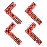 4 Pezzi Morsetto di Posizionamento a 90°,Morsetto ad Angolo Retto per Falegnameria,Morsetti Quadrati 90 Gradi,Tipo L,per Porte,Cornici Scatole Armadi o Cassetti Righello,Picchi di Legno(8 x 5 cm)