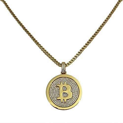 Gold Bitcoin Pendant with 22