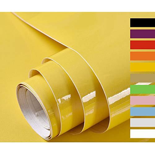 Hode Selbstklebende Klebefolie Möbelfolie für Küche Wände Schrank Dekorfolie DIY Wasserdicht Vinyl 40cmX300cm Gelb Mit Glitzer