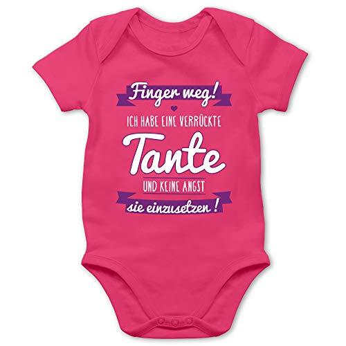 Shirtracer Sprüche Baby - Ich Habe eine verrückte Tante Lila - 1/3 Monate - Fuchsia - Babybody - BZ10 - Baby Body Kurzarm für Jungen und Mädchen