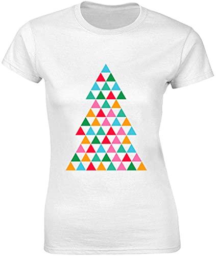 Bnft T-shirt pour femme Motif sapin de Noël coloré avec petits triangles - Blanc - Large