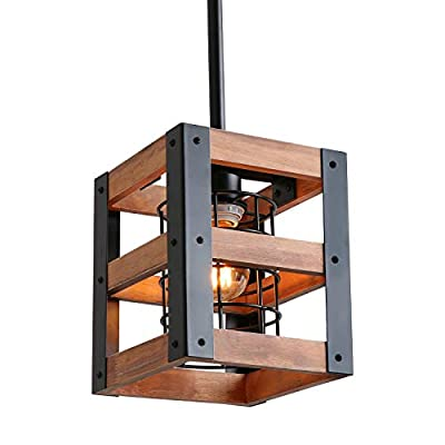 Eumyviv Cube Wood Metal Chandelier Net Cage Pendant Lighting for Kitchen Island, Rustic Industrial Edison Hanging Light Vintage Ceiling Light Fixture 1-Light (P0015)