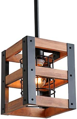 Eumyviv Cube Wood Metal Chandelier Net Cage Pendant Lighting for Kitchen Island Rustic Industrial product image