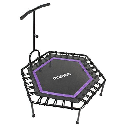 Ocean5 Power Jump Fitness-Trampolin mit Griff & Bungee-Seilsystem, höhenverstellbares Gymnastik-Trampolin mit Haltegriff für zuhause, 115cm Ø, belastbar bis 120 kg