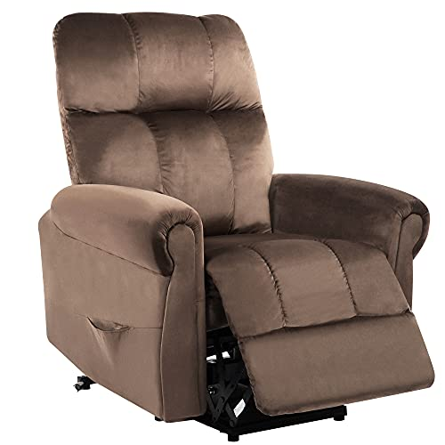 Electric Recliner Chair, Brown Armchair with Power Lift, Living Room Armchairs Sofa with Soft Padded, Recliner Armchair with Side Pockets for Living Room & Bedroom, Lazy Boy Chairs Recliner