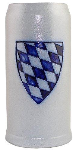 Bavariashop Bierkrug Bayernschild; 0,5 l Füllmenge; Präge Dekor; Salzglasiert; Schlanke Form; Steinkrug; Keferloher; Grau