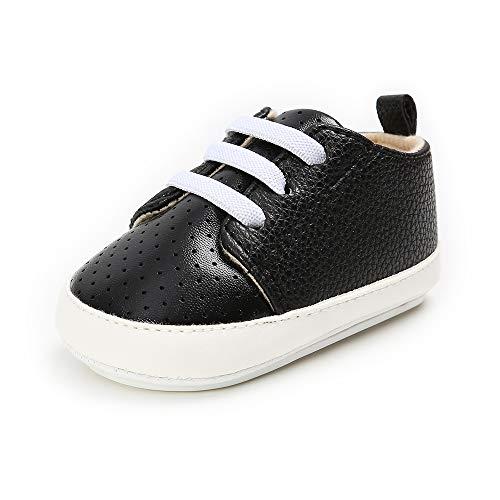 LACOFIA Baby Jungen Lauflernschuhe Kleinkinder Weiche Sohle Schnüren Sneakers Schwarz 12-18 Monate