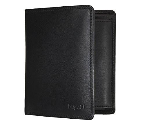 Bugatti Simbiosi Geldbörse Herren Leder – Portemonnaie Herren Hochformat – Geldbeutel Portmonee Wallet Brieftasche Männer Portmonaise, Schwarz