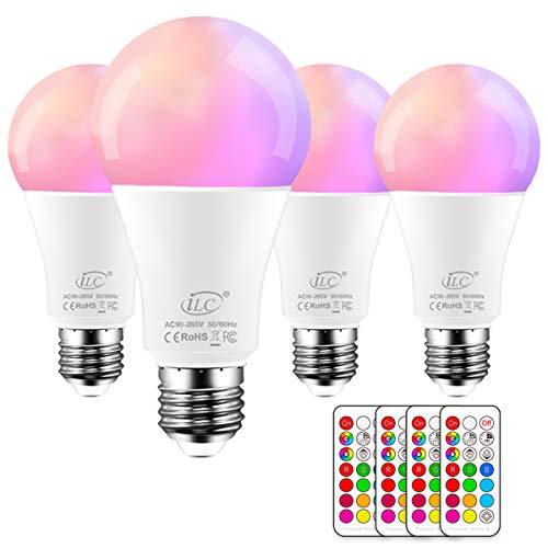 iLC Bombillas Colores RGBW LED Bombilla Regulable Cambio de Color 10W E27 Edison - RGB 12 Color - Control remoto Incluido (Pack de 4)