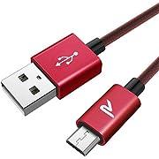 RAMPOW Câble Micro USB [2m/6.5ft] - Charge/Synchro Rapide - Câble USB Micro USB Nylon Tressé en Filet 2.4A pour Samsung, Huawei, Sony, Téléphones Android - Rouge Cerise