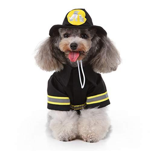 BaojunHT Frohe Weihnachten Haustier Kleidung Feuerwehr Cosplay Kostüm Kostüm mit Hut für kleine Hundekatze (Schwarz,S)