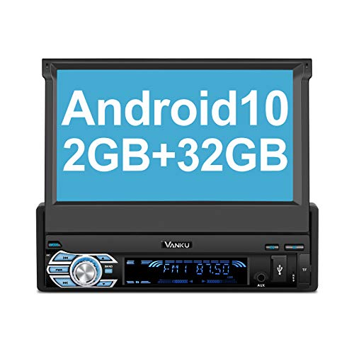 Vanku Android 10 Autoradio 1 Din Radio mit Navi 2GB+32GB Ausfahrbares Touchscreen Unterstützt Qualcomm Bluetooth 5.0 DAB+ Android Auto WiFi 4G 7 Zoll
