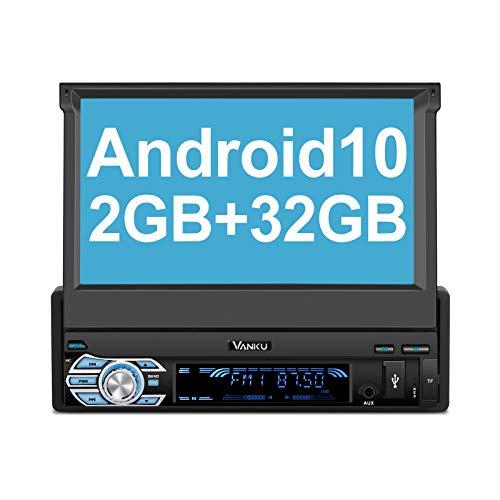 "Vanku Android 10 Radio 1 DIN con GPS, 2+32GB Autoradio Navegador Soporte Bluetooth, Control Volante, WiFi, USB, SD, Subwoofer, Mirror-Link, con 7"" Pantalla Táctil"