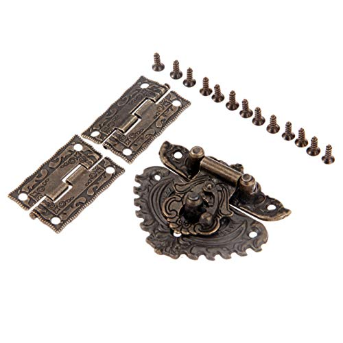 NYKK Butt Hinges Connectors Antique Bronze Furniture Hardware Box Latch Hasp Toggle Buckle + 2Pcs Decorative Cabinet Hinges for Jewelry Wooden Box Door Hinge